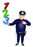 Polizei mit Zeichen 123 Stockfoto