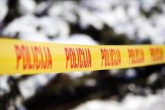 Polizei nimmt auf Band auf Stockfotografie