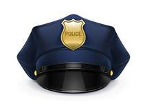 Polizei ragte Schutzkappe mit Cockade empor Stockfotos