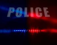 Polizei simst über Rot und Blaulichtern Stockbild