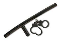 Polizei-Taktstock mit Handschellen Lizenzfreies Stockbild