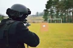 Polizei trainiert auf Strecke Stockfotos