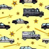 Polizei und nahtloses Muster der Sheriffautos Stockfoto