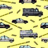 Polizei und nahtloses Muster der Sheriffautos Stockbilder