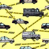 Polizei und nahtloses Muster der Sheriffautos Stockfotos