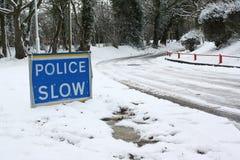 Polizei verlangsamt Zeichen Stockbild