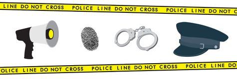 Polizeiausrüstung: Megaphon, Handschellen, Hut und Fingerabdruck Stockbilder