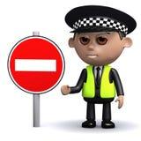 Polizeibeamte 3d mit einem keinem Eintrittszeichen Stockbild