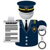 Polizeibeamte Delivering Warrant Icon Stockbilder