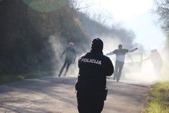 Polizeibeamte in der Tätigkeit Lizenzfreies Stockbild