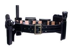 Polizeibeamte-Gewehr-Pistolenhalfter-Gurt Stockbilder