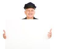 Polizeibeamte-Holding-Zeichen Lizenzfreie Stockbilder