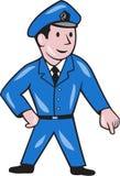 Polizeibeamte Pointing Down Cartoon Lizenzfreies Stockfoto