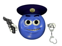 PolizeibeamteEmoticon - mit Ausschnittspfad Stockfotos