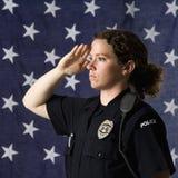 Polizeibeamtinbegrüßung. Stockbilder