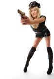 Polizeibeamtinspindel mit Gewehr Lizenzfreie Stockfotos