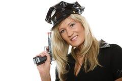 Polizeibeamtinspindel mit Gewehr Lizenzfreie Stockfotografie