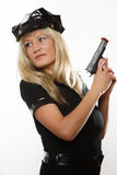 Polizeibeamtinspindel mit Gewehr Lizenzfreies Stockfoto