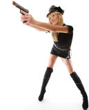Polizeibeamtinspindel mit Gewehr Stockfoto