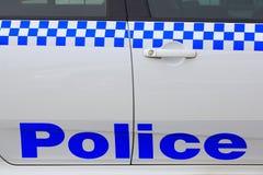 Polizeibeschriftung auf Auto Lizenzfreies Stockbild