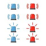 Polizeiblitzgeber, Sirenenvektorsatz lizenzfreie abbildung