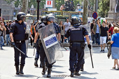 Polizeiintervention, Barcelona, Spanien Stockfotos