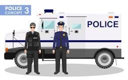 Polizeikonzept Ausführliche Illustration des FLIEGENKLATSCHE-Offiziers, des Polizisten und des Panzerkampfwagens in der flachen A Lizenzfreies Stockbild