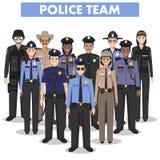 Polizeileutekonzept Ausführliche Illustration des FLIEGENKLATSCHE-Offiziers, -polizisten, -polizeibeamtin und -sheriffs in der fl Lizenzfreies Stockbild