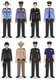 Polizeileutekonzept Satz der unterschiedlichen ausführlichen Illustration des FLIEGENKLATSCHE-Offiziers, -polizisten und -sheriff Stockbilder