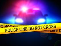 Polizeilinie nicht Quer auf einem Hintergrund eines Polizeiwagens in der Dunkelheit Stockfotografie