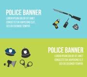 Polizeilogos und -fahnen Elemente der Polizeiausrüstungsikonen Stockbilder