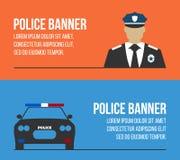 Polizeilogos und -fahnen Elemente der Polizeiausrüstungsikonen Lizenzfreie Stockfotografie