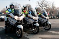 Polizeimotorradgruppe Stockfotos