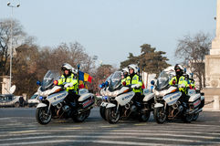 Polizeimotorradgruppe Stockbilder