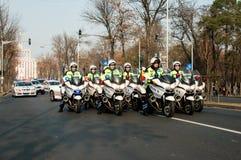Polizeimotorradgruppe Lizenzfreies Stockfoto
