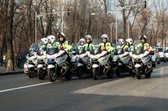Polizeimotorradgruppe Stockfoto