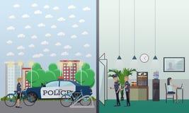 Polizeirevierkonzept-Vektorillustration in der flachen Art lizenzfreie abbildung