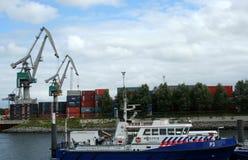 Polizeischiff in Rotterdam Stockfoto