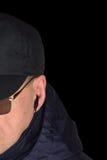 Polizeisicherheitsbeamte-Personalpolizist, der verborgen auf specop Feldsituation, lokalisiertes schwarzes Geheimagentversteck hö Stockbild