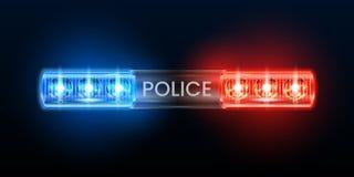 Polizeisirenenlichter Leuchtfeuerblitzgeber, Polizistautoblinklicht und rote blaue Sicherheitssirenenvektorillustration lizenzfreie abbildung