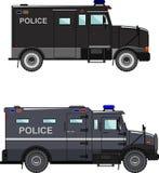 Polizeiwagen auf einem weißen Hintergrund in einer flachen Art Lizenzfreie Stockfotos