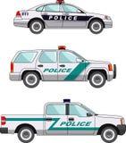 Polizeiwagen auf einem weißen Hintergrund in einer flachen Art Lizenzfreie Stockfotografie