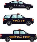 Polizeiwagen auf einem weißen Hintergrund in einer flachen Art Stockfotografie