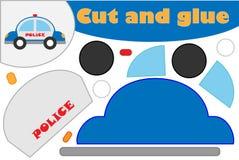 Polizeiwagen in der Karikaturart, Ausbildungsspiel für die Entwicklung von Vorschulkindern, Gebrauchsscheren und Kleber, zu schaf stock abbildung