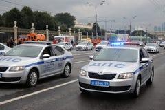 Polizeiwagen an erster Moskau-Parade des Stadt-Transportes Stockfotografie