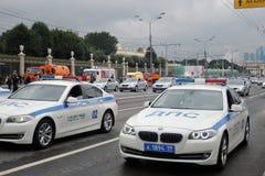Polizeiwagen an erster Moskau-Parade des Stadt-Transportes Lizenzfreie Stockfotos