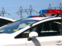 Polizeiwagen mit den Sirenen rot und blauer Farbe Stockbilder