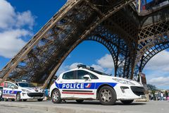 Polizeiwagen in Paris Stockbild