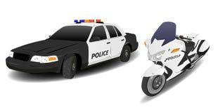 Polizeiwagen und Motorrad Lizenzfreie Stockfotos