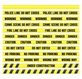 Polizeizeile Bänder mit einem unbelegten getrennt Stockfotografie